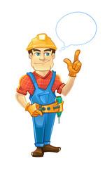 builder or handyman in helmet pointing top