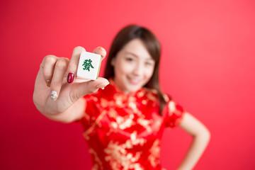 beauty woman wear cheongsam