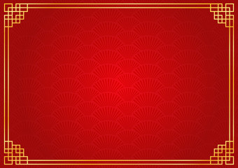 chinese new year background with golden border, abstract oriental wallpaper with decoration frame, red chinese fan inspiration
