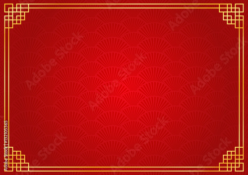 chinese new year background with golden border abstract oriental wallpaper with decoration frame red