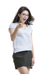 Happy young woman pointing