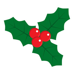 Flat icon christmas holly berry. Christmas symbol. Vector illustration.