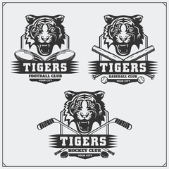 Football, baseball and hockey logos and labels. Sport club emblems with tiger.