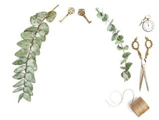 Minimalistic creative floral flat lay Vintage tools eucalyptus