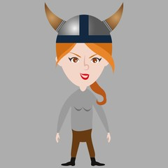 Cartoon funny girl in viking suit