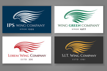 Wall Mural - Winged logo company card set. Vector business label with wing
