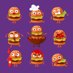 Burger Fast Food Sandwich Cartoon Humanized Character Emoji Sticker Set Of Vector Illustrations