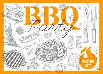 Set BBQ party. Barbecue elements, food, lemon, sausages, chicken, drinks, knife, onion, wings, tomatoes, vegetables, fire. Hand drawn vector illustration.