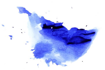 blue ink splashes isolated on white, with clipping path