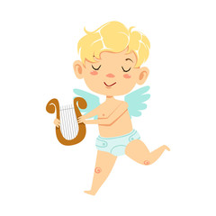Boy Baby Cupid With Lira, Winged Toddler In Diaper Adorable Love Symbol Cartoon Character