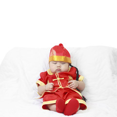 Asian baby boy wearing red Chinese suit or clothes with hat sit