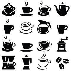Coffee cup icon collection - silhouette illustration