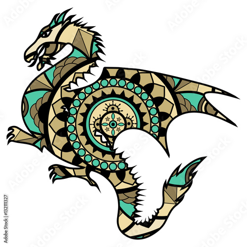 Vector illustration of a colored dragon mandala drago mandala colorato vettoriale stock image - Mandala de dragon ...