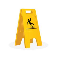 Wet floor sign, falling man.