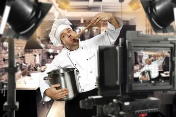 cook chef in tv studio