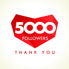 5000 followers thank you heart. The 5000 vector followers thanks card for network friends with red facet heart