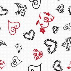 Retro hand-drawn sketches seamless background with hearts for valentines and wedding day