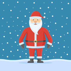 Santa Claus on snow background. Flat style. Christmas vector illustration.