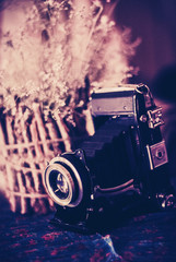 Vintage still life with old camera and wooden vase