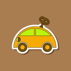paper sticker on stylish background Kids toy car with key