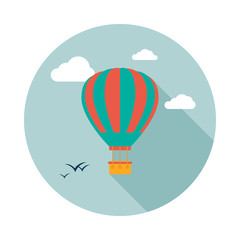 Hot air balloon icon with long shadow. Flat design style. Round icon. Hot air balloon silhouette. Simple circle icon. Modern icon in stylish colors. Web site page and mobile app design vector element.