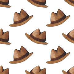 Hipster fashion men accessories. Watercolor illustration of hats. Seamless pattern.