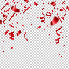 Red ribbon and confetti celebration isolated on transparent