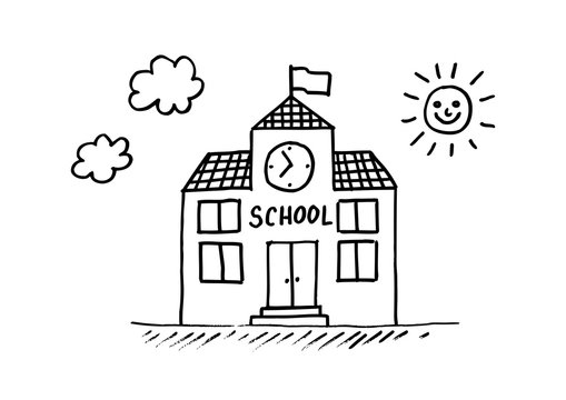 School drawing on white background