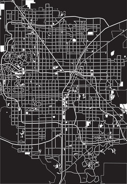Black - white vector map of Las Vegas, USA.