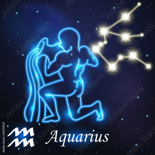 Light Symbol Of Water Carrier To Aquarius Of Zodiac And Stock Image