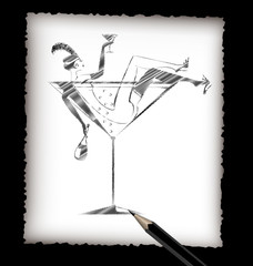 pencil and the image of drinking lady