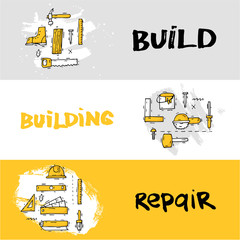 Building, construction and home repair tools. Instruments, engineering tools, industry equipments, painting. Hand drawn vintage style. Banners. Flat design vector illustration.