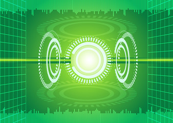 Abstract digital technology green background.