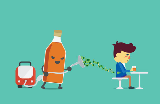 Liquor bottles using vacuum cleaner to suck money from drinker. Illustration about using money extravagantly.