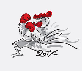 Fighting rooster cartoon character. Vector illustration.