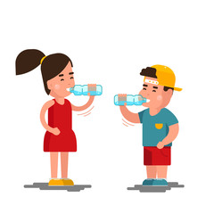 Little boy and girl drinks water vector illustration. Kids drinking clean isolated on white background