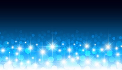 Round glowing confetti blue bokeh vector background. Circular optical lens blurred lights festive pattern