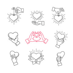 Wall Mural - Lined hand love signs. Vector hands making heart shape