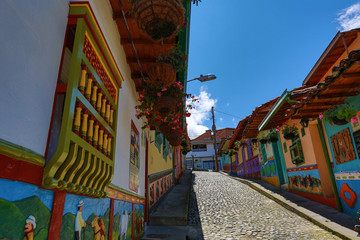 colourful houses in Guatape Colombia