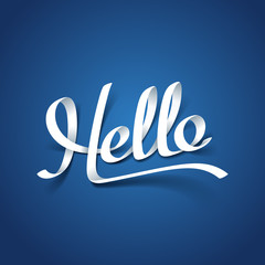 Paper art of Hello calligraphy hand lettering