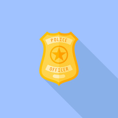 Police badge flat icon with long shadow on blue background. Vector illustration.