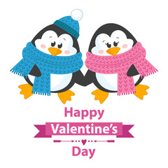 Cute and happy penguins holding hands.Vector illustration for happy valentines day card