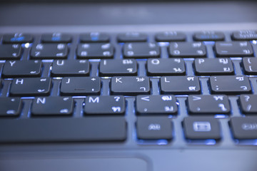Close up keyboard on laptop. business background concept.