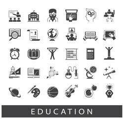 Collection of educational icons. Icons of school and education, distance learning, creative process, science, art and sport.