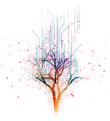 digital tree on technology background illustration