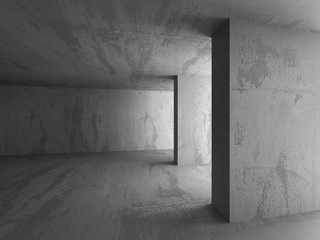 Dark concrete empty room. Modern architecture design