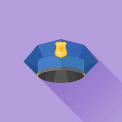 Police cap flat icon with long shadow. Vector illustration.