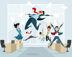 Businessmen in office jumping