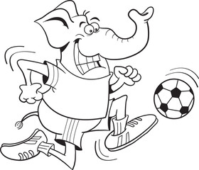 Black and white illustration of an elephant playing soccer.