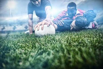 Composite image of rugby fans in arena 3d